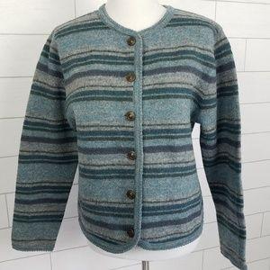 Tally Ho Medium Cardigan Sweater Green Gray Stripe